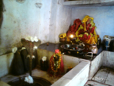 The Shivling inside the cave at Jyoteshwar Mahadeo Temple at Joshimath near Badrinath in the Himalayas