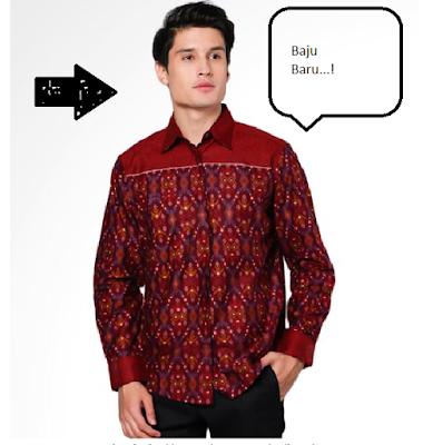 Model Baju Batik Pria Kombinasi Lengan Panjang