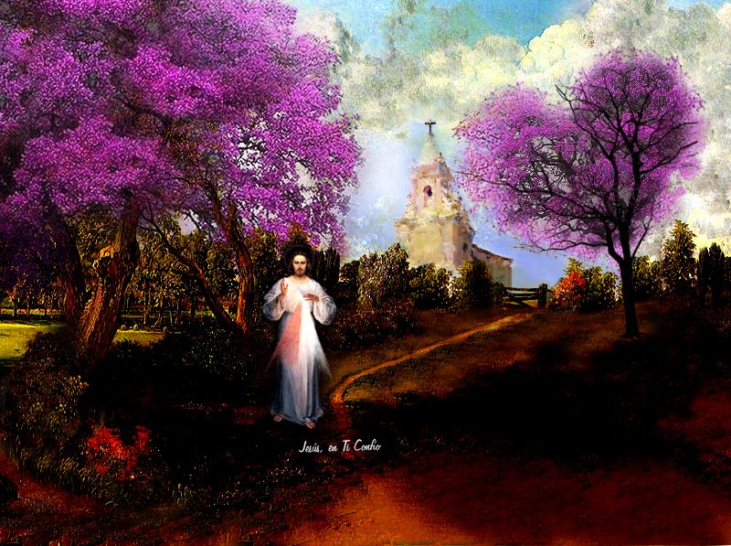 imagen con iglesia y la divina misericordia