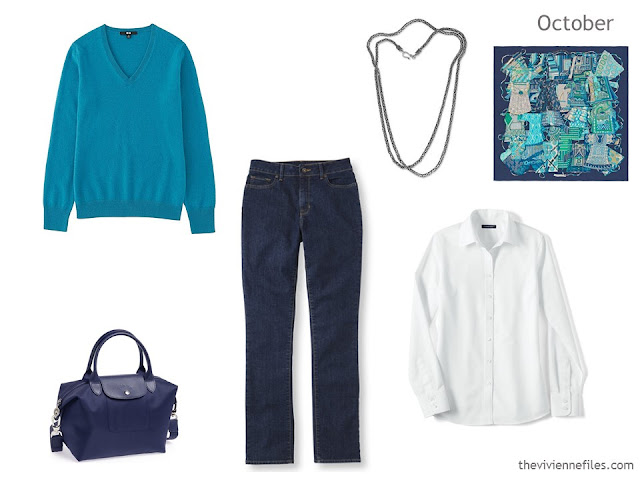 3 piece outfit in turquoise, denim and white, for a Summer or Winter