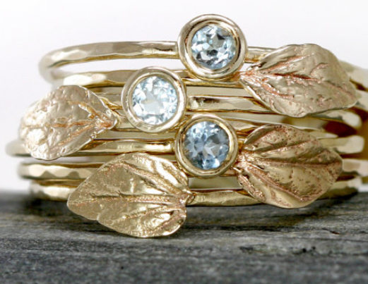 Melanie Casey Aquamarine Leaf Ring in 14k Gold, Aquamarine Stacking Rings. Via Diamonds in the Library.