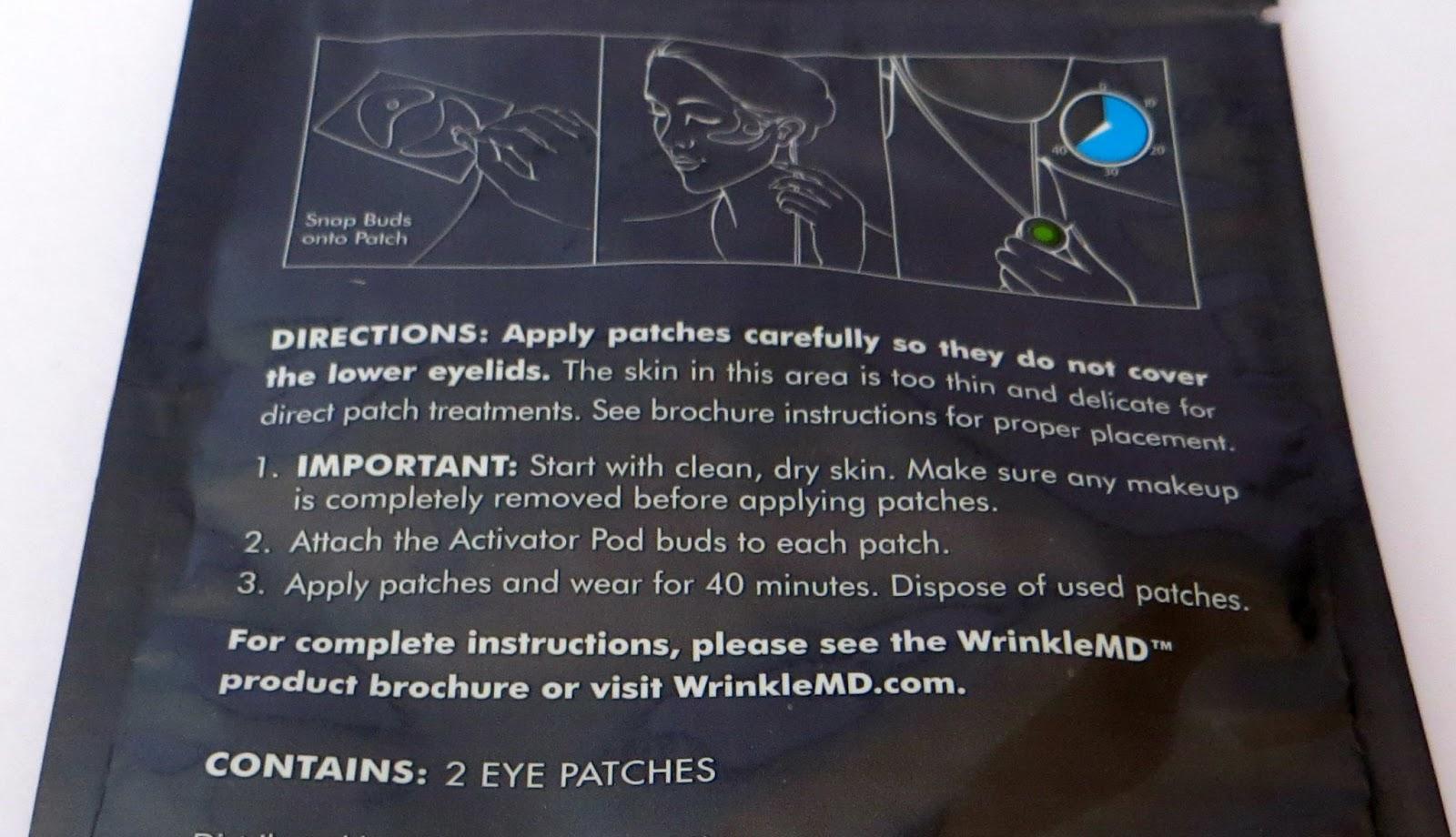 WrinkleMD Eye Hyaluronic Filler Patch System instructions