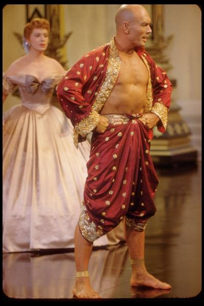 Deborah Kerr and Yul Brynner in scene from The King and I in Irene Sharaff's costumes
