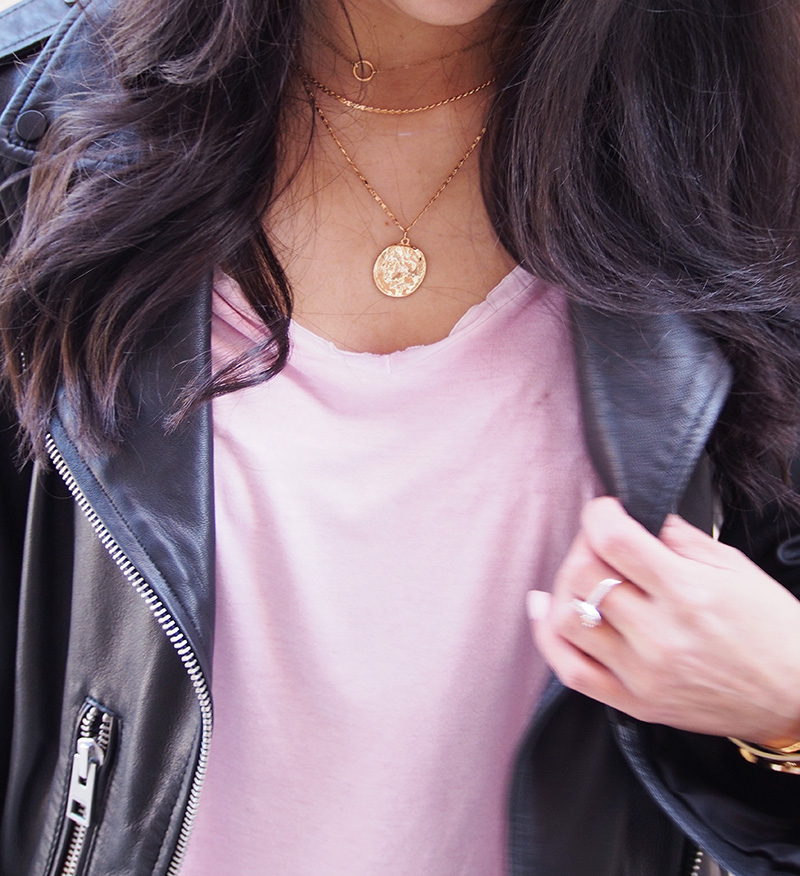 medalion coin necklace leather jacket outfit details