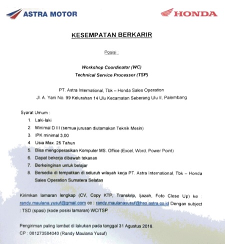 INFO LOKER PT Astra International Tbk - Honda Sales Operation