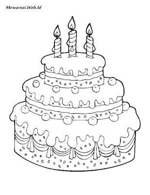 Gambar Mewarnai Kue Ulang Tahun