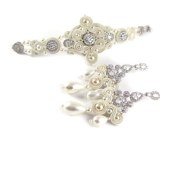 Kandelabrowe kolczyki ślubne sutasz z perłami.