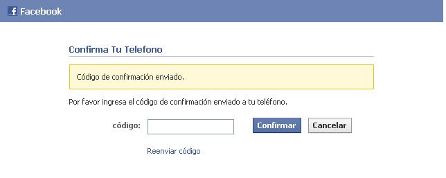 Codigo de confirmacion de Facebook - MasFB