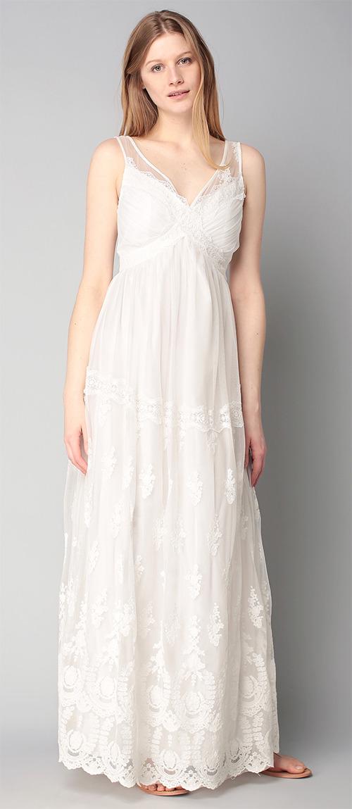 Robe longue blanche d'été en dentelle Naf Naf