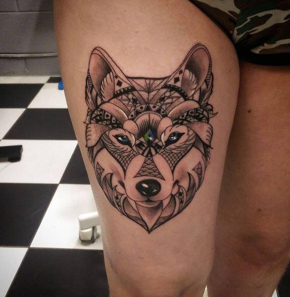 Womens Wolf Tattoo Thigh Tattoos Women Wolf Womens Thigh: 50+ Unique Thigh Tattoos For Women (2019)