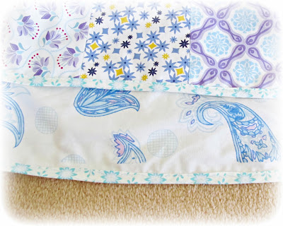 image sewing machine cover purple aqua turquoise blue yellow peacock kate spain cuzco moda vintage paisley pillowcase white