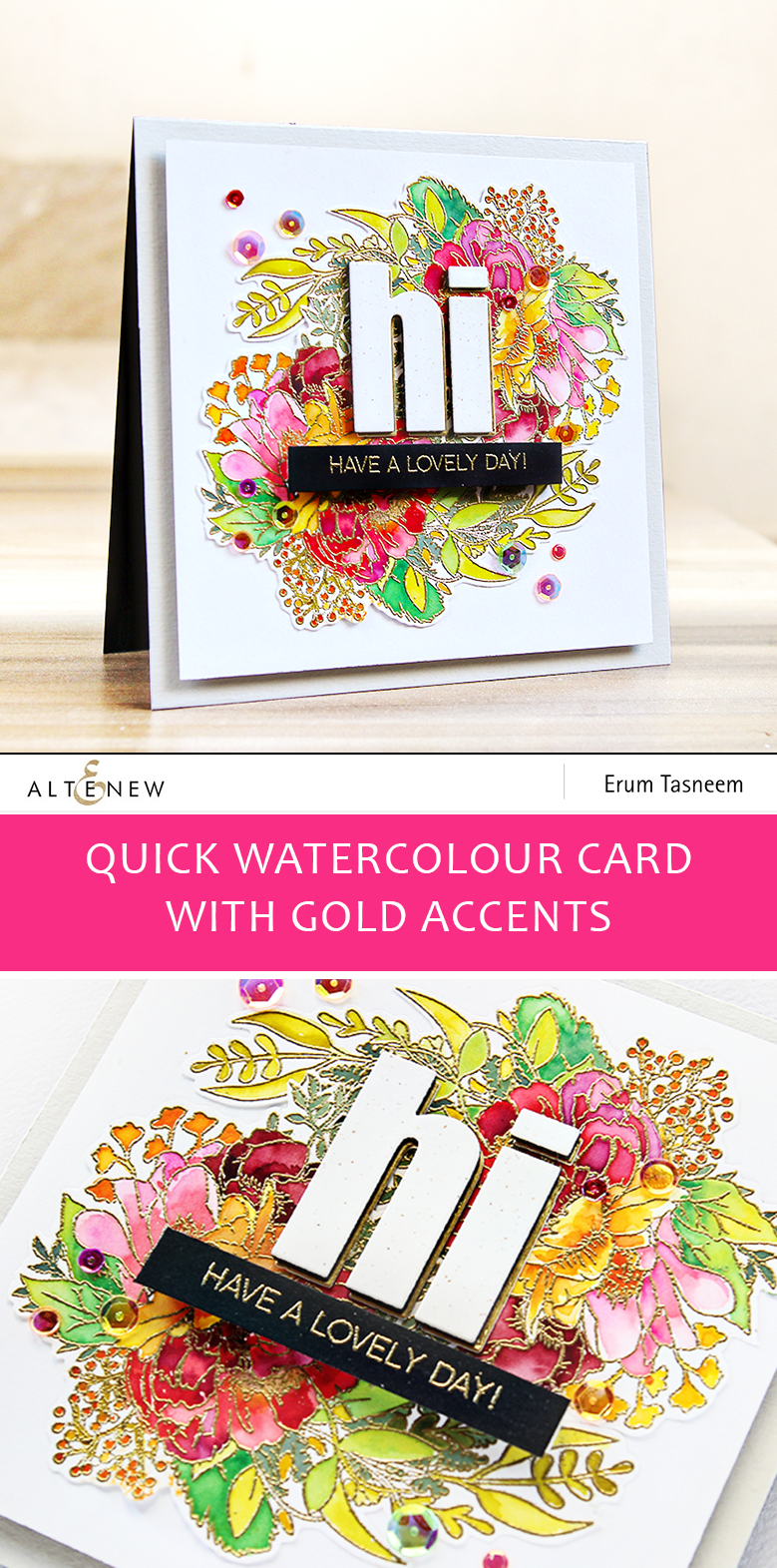 Altenew Just Because Stamp Set Halftone Hearts and Bold Alphabet Die Set on a quick watercoloured card | Erum Tasneem | @pr0digy0