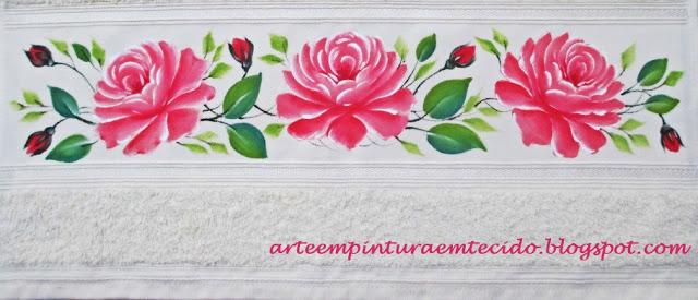 rosas pintura em tecido