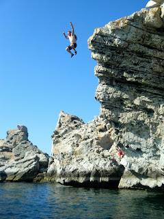 cliff jumping in Oman