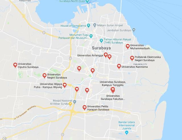 Daftar Universitas / Institut / Politeknik / Sekolah tinggi dan  Perguruan Tinggi baik Negeri maupun Swasta yang ada di Surabaya - Sewa Proyektor surabaya team