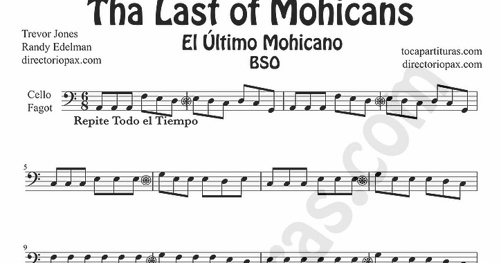 tubescore: The Last of the Mohicans sheet music for Cello and