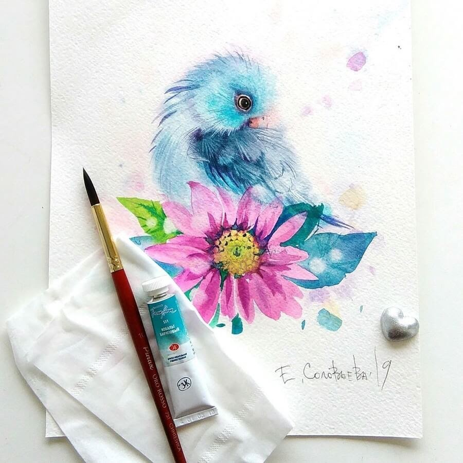 03-Blue-Bird-Evgeniya-Solovyova-Fantasy-Animals-Watercolor-Paintings-www-designstack-co