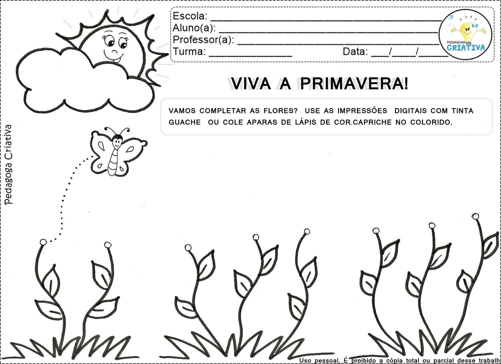 Pedagoga Criativa Arte Para Imprimir Viva A Primavera