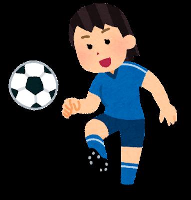 パスをするサッカー選手のイラスト(女性)