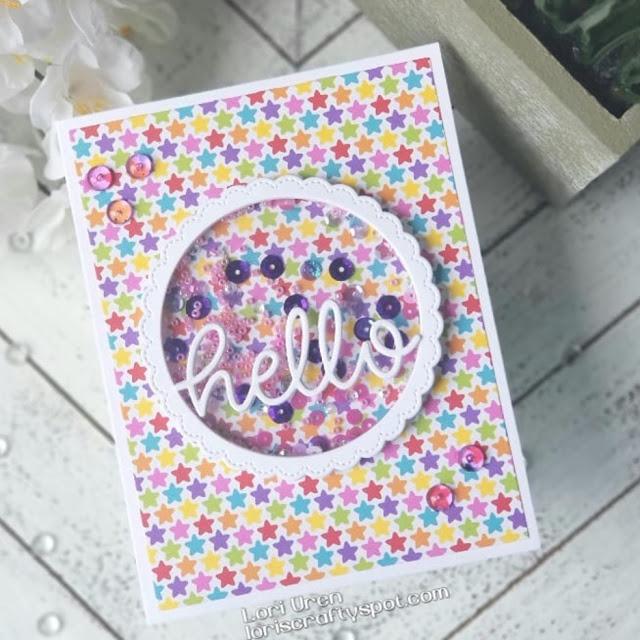 Sunny Studio Stamps: Hello Word Fancy Frame Dies Customer Card by Lori U'ren