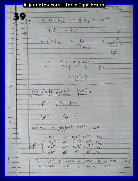 Ionic Equilibrium Notes IITJEE 7