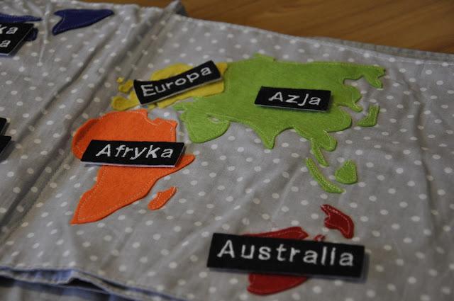 książka manipulacyjna dla malucha, quiet book, mapy, globus, kontynenty, geografia dla malucha