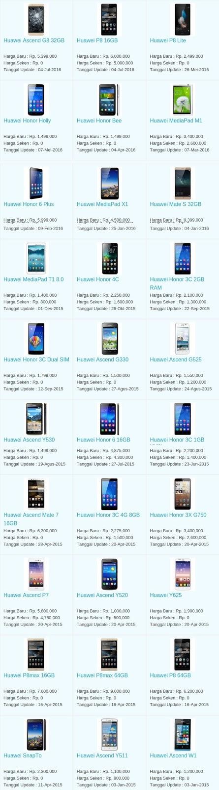 Daftar Harga Hp Terbaru Huawei Juli 2016