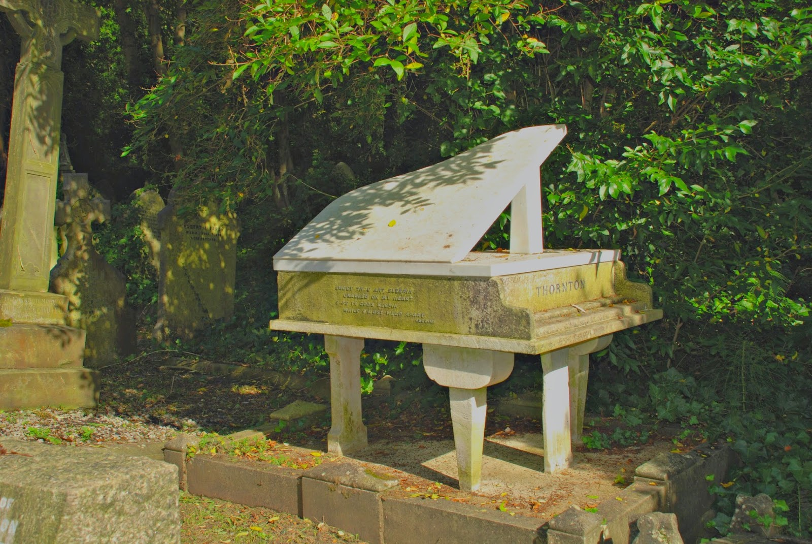 Harry Thornton's piano memorial, Highgate Cemetery, London