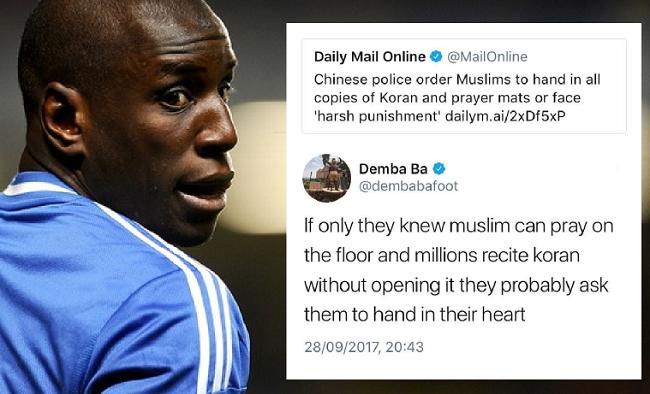 Berita bola hari ini Demba Ba kritik China karena tindas muslim Uighur