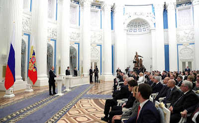 Vladimir Putin at the presentation of the Presidential Prizes in Science, 2016.