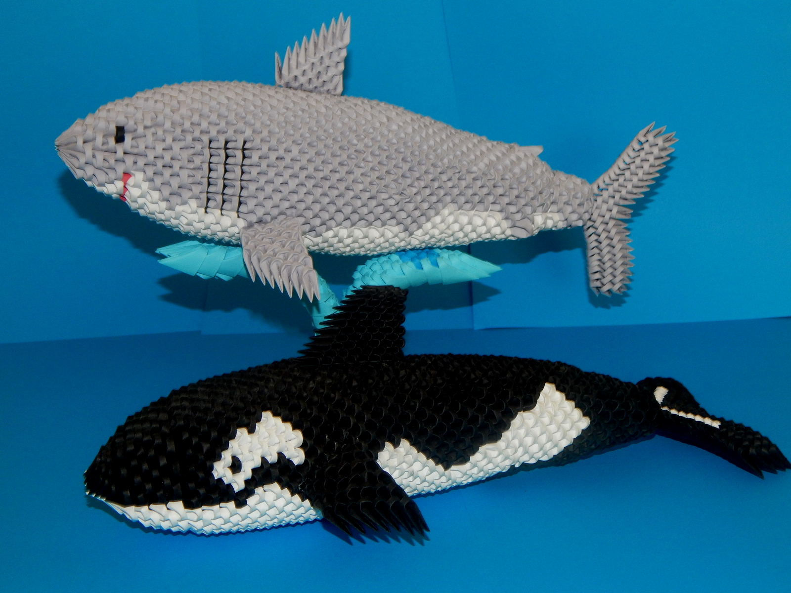 Razcapapercraft 3d origami shark 3d origami shark and orca made from 3d origami pieces jeuxipadfo Gallery