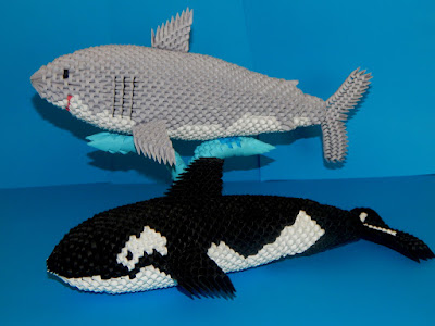 3d origami shark and orca  made from 3d origami pieces