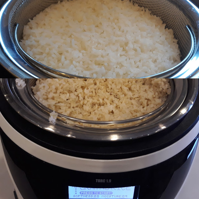 Thermosense - provides just the right cooking temperature to gelatinize the rice thereby releasing the unhealthy RDS or Rapidly Digested  Starch into the water, yet retaining the vital nutrition and minerals. 2. Debond - intuitively holds the gelatinization temperature compelling most of the RDS to get out of the rice. 3. Transuded - The RDS is drained away into the Starch Collection Tray 4. Demoisturize - of excess moisture, making the rice fluffy, healthy and delicious