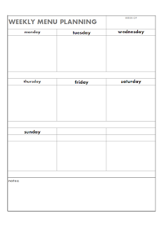 Blank weekly menu planning page free printable
