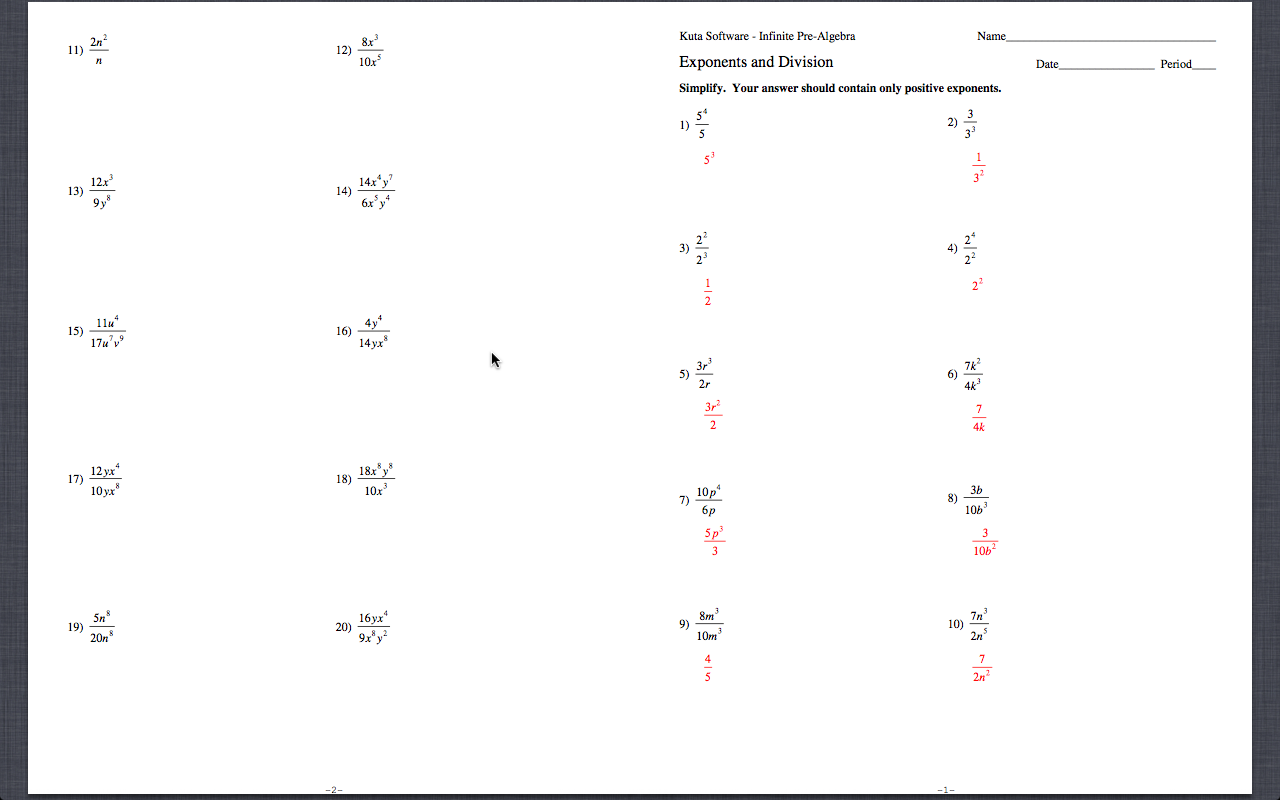 Kuta Worksheet Exponents And Division