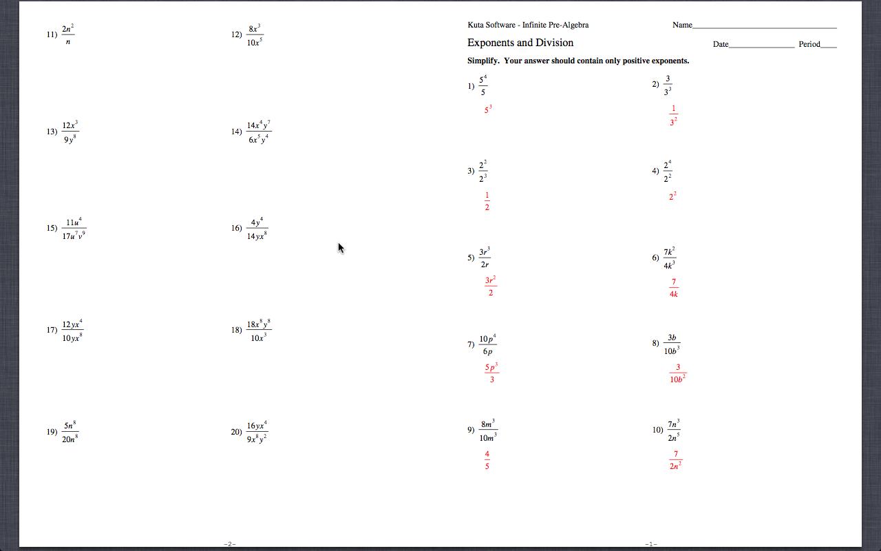 Kuta Worksheet Exponents And Division