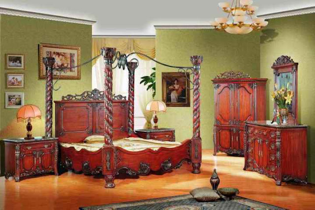 elegant vintage mahogany bedroom furniture sets with canopy ideas