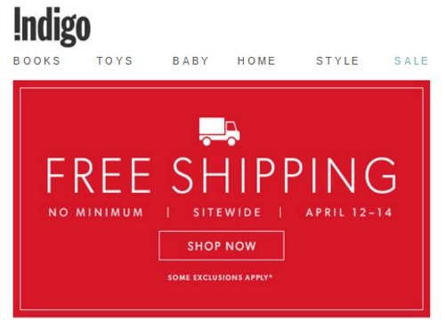 Chapters Indigo Free Shipping No Minimum