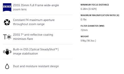 Spesifikasi Vario Tessar T* FE F4 ZA OSS