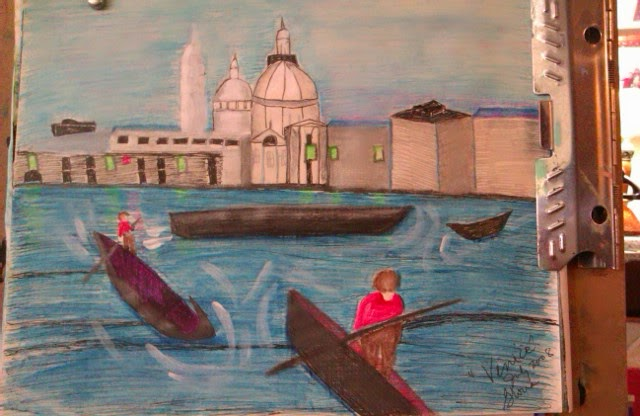 Venice canal sketch by Gloria Poole; yr 2008lwhen in Colorado