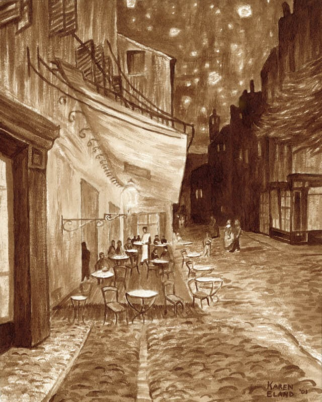 07-Café-Terrace-at-Night-Karen-Eland-The-World-Through-Coffee-Paintings-www-designstack-co