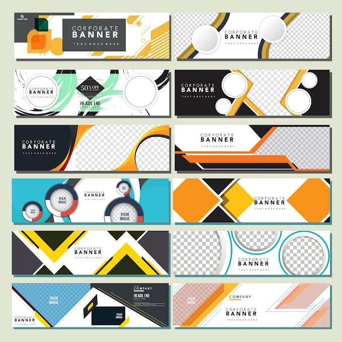 Corporate banners templates modern flat colorful geometric decor Free vector