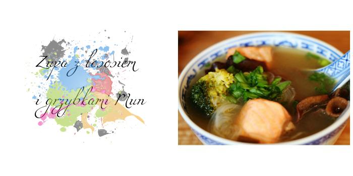 Zupa z łososiem i grzybkami Mun w stylu orientalnym