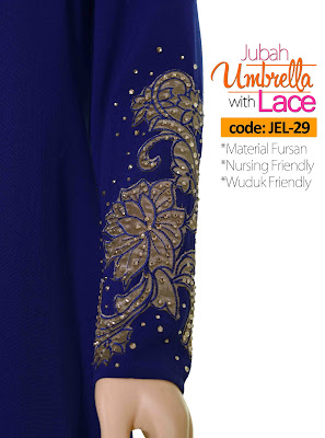 Jubah Umbrella Lace JEL-29 Blue Tangan 4