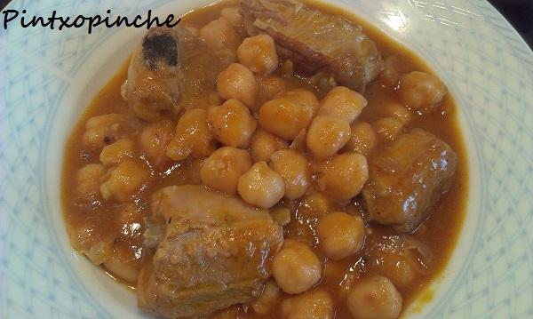 garbanzos, costilla, gastronomía, sin gluten, carne, legumbres