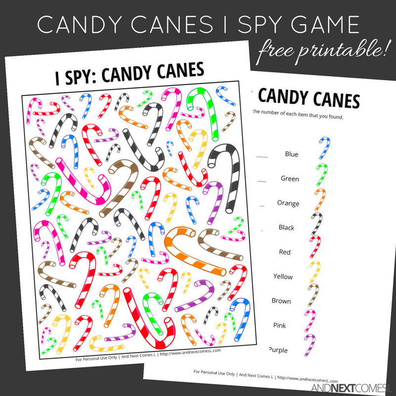 image relating to Printable Candy Cane named Sweet Canes Xmas I Spy Video game Absolutely free Printable for Little ones