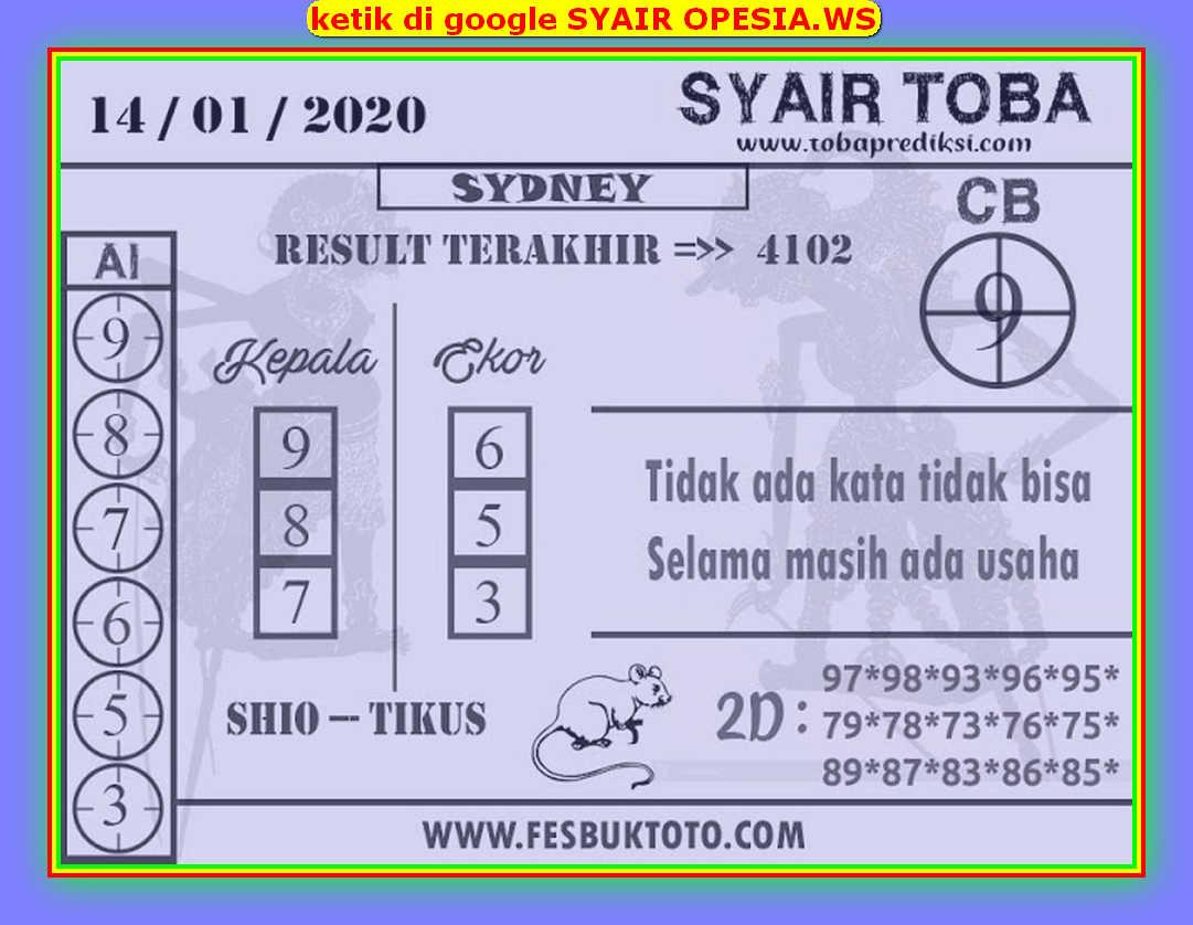 Kode syair Sydney Selasa 14 Januari 2020 137