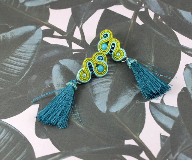tassels soutache earrings, Lime, turquise,