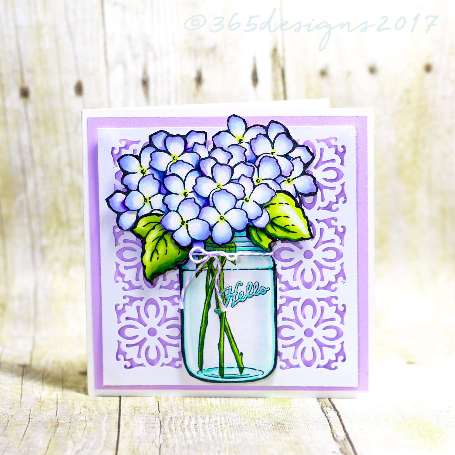 Stampendous Hydrangea stamp card copic with martha stewart punch