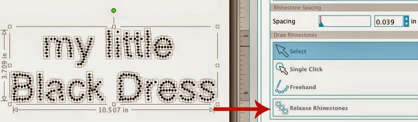 Silhouette Studio, Silhouette tutorial, single line text, rhinestone, release rhinestones